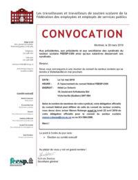 Convocation secteur scolaire