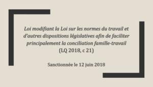 Loi modifiant la Loi sur les normes du travail et d'autres dispositions législatives afin de faciliter principalement la conciliation famille-travail