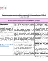 Mesures économiques des gouvernements – Tableau du Barreau du Québec 25 mars 2020
