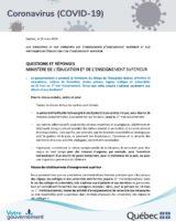 Questions et réponses – Ministère de l'Éducations et de l'Enseignement supérieur – 25 mars 2020
