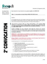 2e convocation Conseil fédéral virtuel 2020