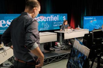 Nathalie Arguin, présidente de la FEESP et Jason Brochu-Valcourt, conseiller aux communications