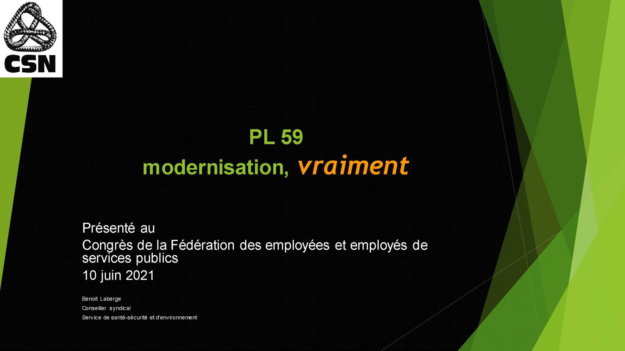 Présentation de Benoit Laberge, conseiller syndical au Service de santé, sécurité et environnement de la CSN, au 28e Congrès de la FEESP