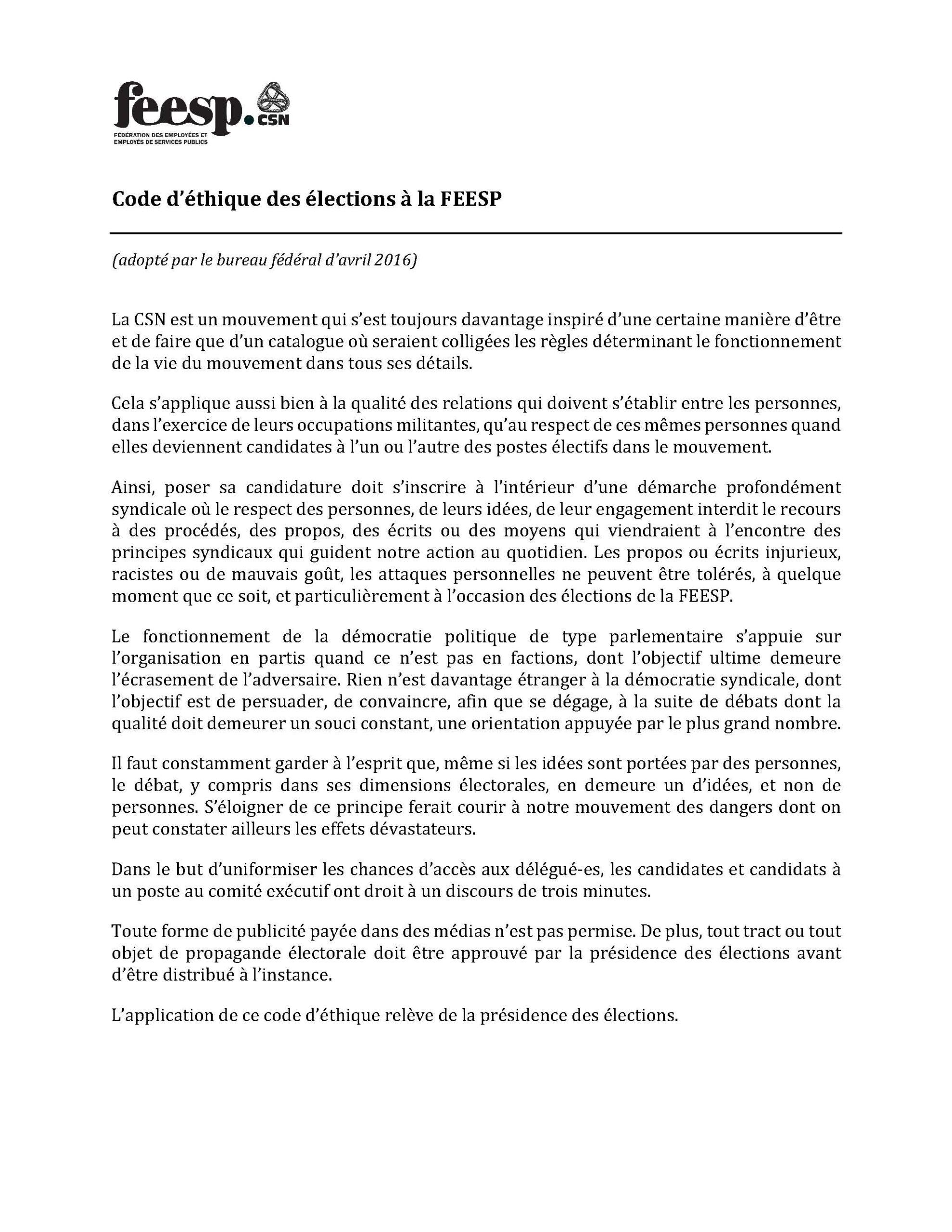 Code d'éthique des élections FEESP