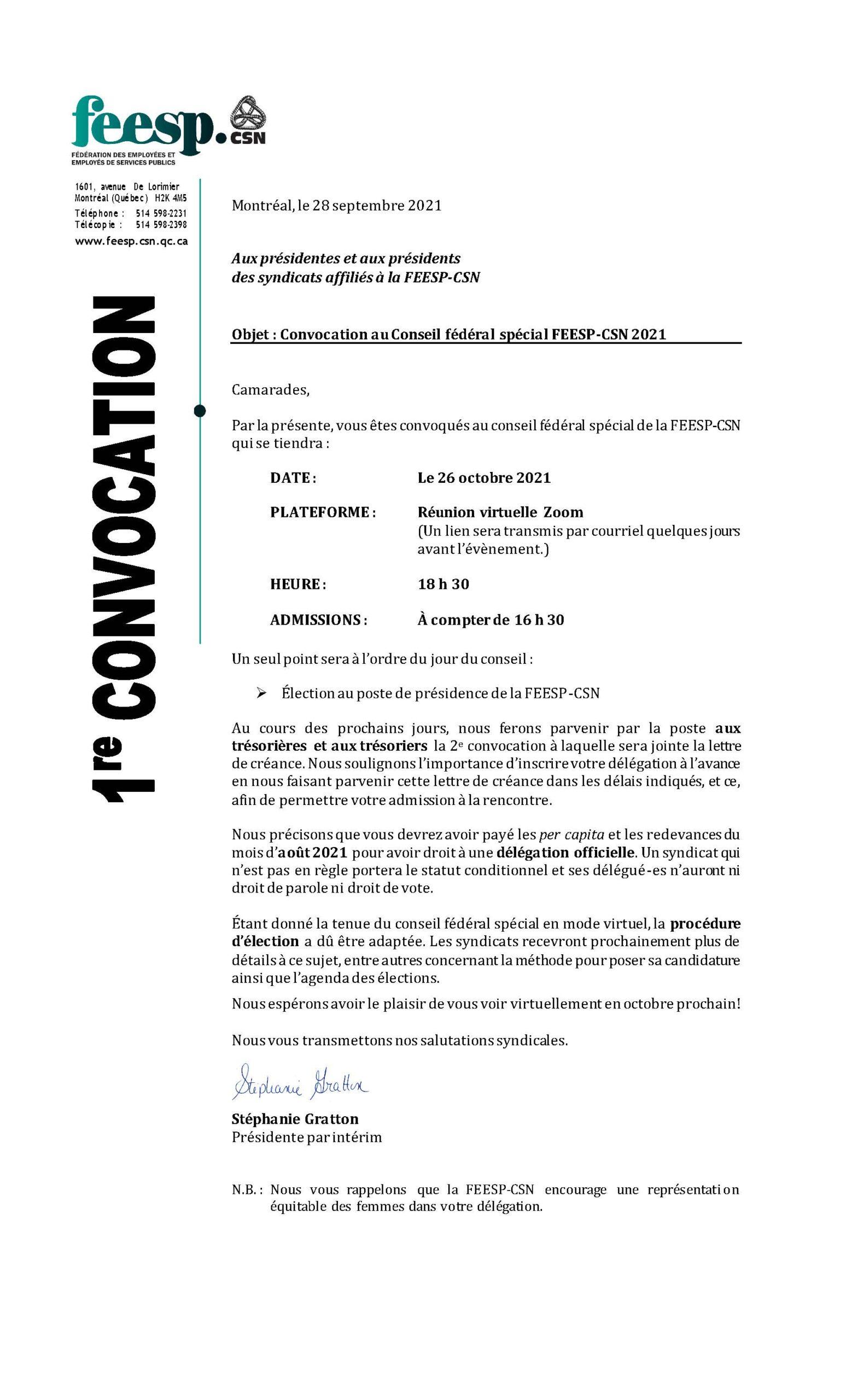 Première convocation Conseil fédéral spécial 2021
